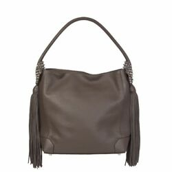 53837 auth CHRISTIAN LOUBOUTIN taupe grey leather ELOISE Hobo Shoulder Bag