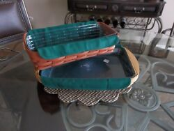 Longaberger Bread Serving Tray basket FABRIC LINER ONLY IVY GREEN NEW