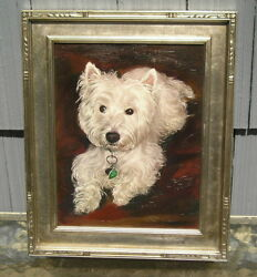 Vintage~Outsider Art Dog Painting~West Highland White Terrier Nice Frame 11 x 14