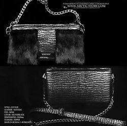 Romanov Black Mink Silver leather fur handbag purse bag clutch reptile print