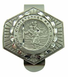 Pewter Saint St Christopher Be My Guide Visor Clip, 1 1/2 Inch