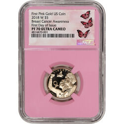 2018-w Us Gold 5 Breast Cancer Commemorative Proof Ngc Pf70 First Day Pink