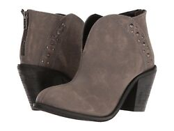 Dan Post Dingo Boots Dove Heeled Studded Western Ankle Booties Grey Leather 8