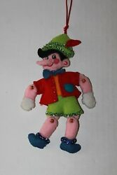 Vintage Felt & Sequin Pinocchio Christmas Ornament