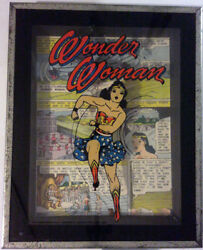 Wonder Woman Antique Picture Glass Frame With Comic Strip Back Drop 1973