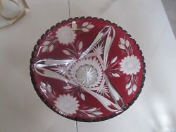 Vintage Imperlux Germany Ruby Red Cut To Clear Lead Crystal 12 Bowl Perfect