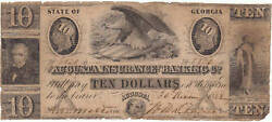 1852 10 Augusta Insurance And Banking Co. Georgia Note