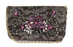NEW $2600 DOLCE & GABBANA Bag Purse Clutch Gray Floral Lace Crystal Hand Evening