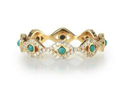 Sydney Evan Turquoise Diamond Eternity Evil Eye Ring Nwot Sold Out In All Stores