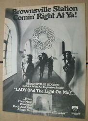 Brownsville Station 1977 Ad- Lady Put The Light On Me Cub Koda