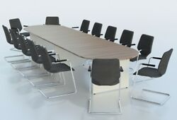 Sven D Ended Two Tone Boardroom Conference Meeting Table 2.5m-5m Uk Made