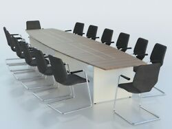 Sven Barrel Shaped Two Tone Boardroom Conference Meeting Table 2.5m-5m Uk Made