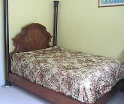 Henredon Queen Size Contemporary With Two Metal Posts Wood Headboard Bed