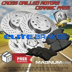 Front And Rear Cross Drilled Rotors And Ceramic Pads For 2011-2018 Toyota Sienna