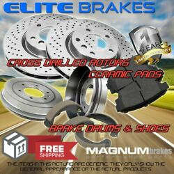 Front Rotors And Pads And Rear Drum And Shoes For 2010-2014 Toyota Tacoma 6 Lugs