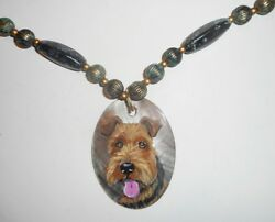 Welsh Terrier Dog Necklace Hand Painted Shell Pendant