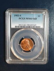 1953 S Lincoln Wheat Cent Pcgs Ms66+ Red Gem 1c Coin Priced To Sell Quickly