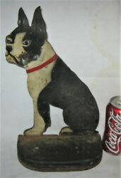 ANTIQUE US HUBLEY LG BOSTON TERRIER DOG DOOR DOORSTOP CAST IRON STATUE SCULPTURE
