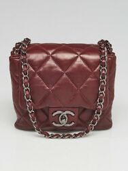 Chanel Burgundy Quilted Lambskin Leather 3 Accordion Mini Flap Bag