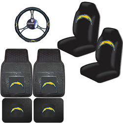 Nfl Los Angeles Chargers Car Truck Seat Covers Floor Mats And Steering Wheel Cover