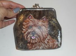 Wheaten Cairn Terrier dog Hand Painted Leather Coin Purse Clutch Mini Wallet