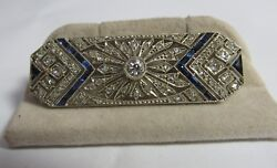Vintage 18k European And Rose Cut Diamond And Sapphire Brooch/pendent
