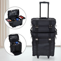2 pc Professional Makeup Case Rolling Cosmetic Organizer Bag Travel