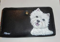 West Highland White Terrier Westie dog Hand Painted Leather Wallet for Women