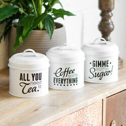 White Enamel Pun And Games Tea Coffee Sugar Canisters Jars Storage Containers