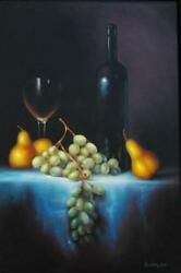 Oil On Canvas Realism Still Life Grapes And Pears Canadian Artist Carole Bonneau