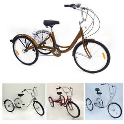 24'' 3 Wheel Adult Tricycle Trike Bicycle Basket Seat Trike Cruise with lamp