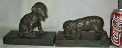 ANTIQUE PARSONS GORHAM BRONZE TERRIER DOG ART DECO STATUE SCULPTURE US BOOKENDS