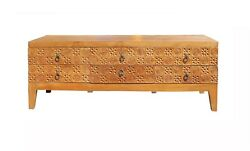 Light Wood Stain Geometric Relief Carving Low Dresser Drawers Cabinet Cs4133