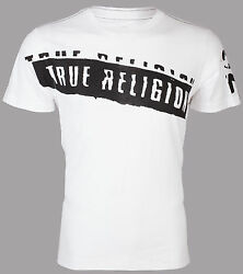 True Religion Mens SS T-Shirt STENCEL GRAPHIC Designer WHITE Jeans M-3XL $69  $22.99