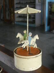 Rare Early Vintage Wind Up Fine Handpainted Horse Carousel Tin Toy Germany