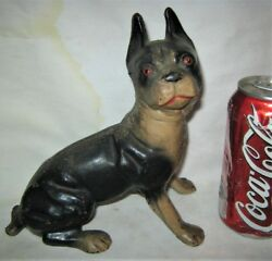 ANTIQUE HUBLEY BOSTON SITTING TERRIER CAST IRON ART STATUE SCULPTURE DOORSTOP