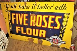 Antique Five Roses Flour Country Ca Store Porcelain Sign Wheat Grain Advertising