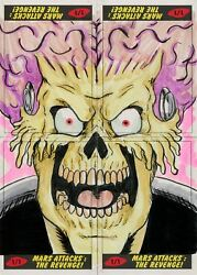 Mars Attacks The Revenge 4 Piece Puzzle Sketch Card Set By Andrew Lopez