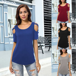 Summer Cotton Blouse Short Sleeves Tunic Cold Shoulder Tops Shirts For Women
