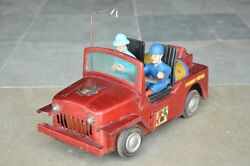 Vintage Battery Highway Patrol F.d Litho Jeep / Car Tin Toy , Collectible