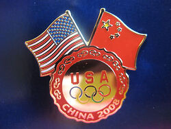 Lot Of 100 Pins - Beijing 2008 Olympic Pin - U.s. And China Dual Flags