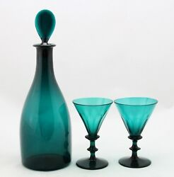 Antique Early 19th C. Emerald Green Crystal White Wine Decanter And 2x Glass