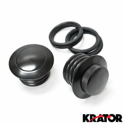 New Custom Set Of Dual Black Pop Up Gas Fuel Caps For Harley 1 Vented 1 Non