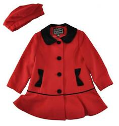 Rothschild Girls Red And Black Faux Wool Coat Size 2t 3t 4t 5 6 6x