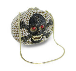 Zeckos Rhinestone Covered Skull and Crossbones Clutch Purse Evening Bag