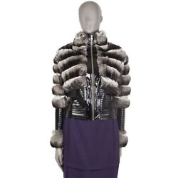 54039 Auth Jitrois Silver Chinchilla Fur And Patent Leather Cropped Jacket 36 Xs