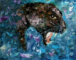 BLACK PANTHER ORIGINAL OIL PAINTING Wildlife Animal Leopard Cat ANDRE DLUHOS