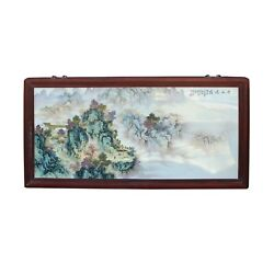 Chinese Rectangular Rosewood Porcelain Mountain Water Scenery Wall Plaque Cs4188