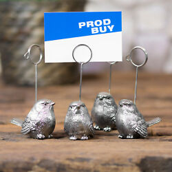 8 X Vintage Silver Bird Name Card Number Photo Holders Wedding Table Decoration