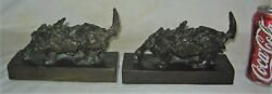 ANTIQUE E.B. PARSONS KUNST BRONZE TERRIER DOG ART DECO STATUE SCULPTURE BOOKENDS